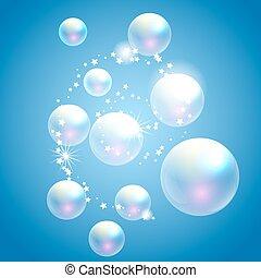 Vector soap bubbles blue background.