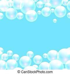 Vector soap bubbles blue banner background.