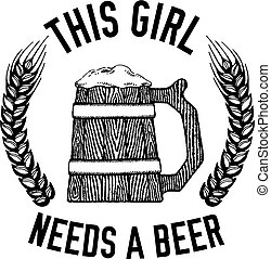 vector, sobre, cerveza inglesa, cervezadorada, cita, imagen...