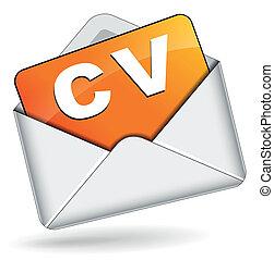 vector, sobre, cv