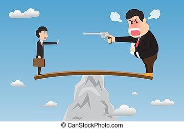 vector, sobresaliente, el suyo, intimidar, enojado, arma de fuego, ilustración, jefe, escarpa, madera, estante, concept., employee., acción, utilizar, self-sabotage, tonto, caricatura, acantilado