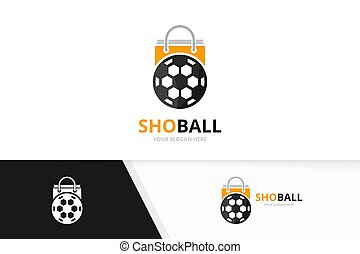 Vector soccer and shop logo combination. Ball and sale symbol or icon. Unique football and market logotype design template.