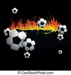 Vector Soccer Background with Fire
