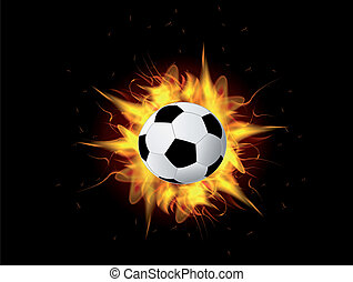 Vector soccer ball in fire flame - vector illustration of...