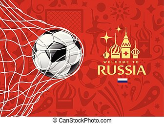 Vector Soccer ball in net, welcome to football cup