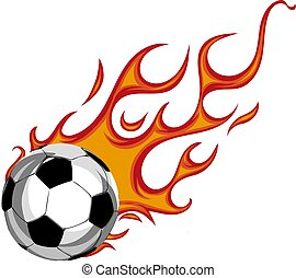 Soccer Ball on Fire. Illustration on white background