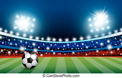 Vector soccer ball on green grass in the stadium with light