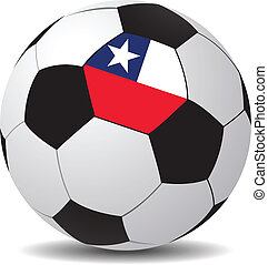 Vector soccer ball with the flag of Chile.
