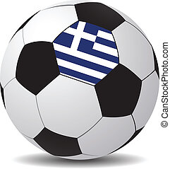 Vector soccer ball with the flag of Greece.