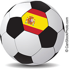 Vector soccer ball with the flag of Spain.