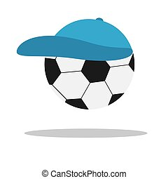 Vector soccer game ball isolated in a cap on white background. Flat illustration.