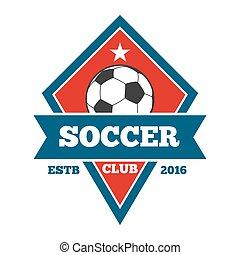 Vector soccer logo, badge, emblem template in red blue
