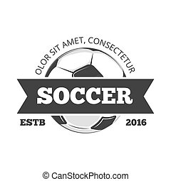 Vector soccer logo, badge template isolated in black white