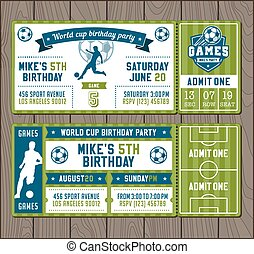 Vector Soccer Party invites - Two Vector illustrations for...