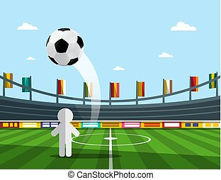 Vector Soccer Player on Championship with Ball on Stadium
