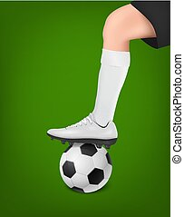 Vector soccer player with ball. Leg of a football player in ...