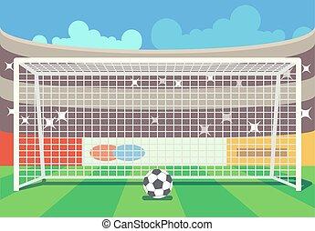 Vector soccer stadium and ball illustration