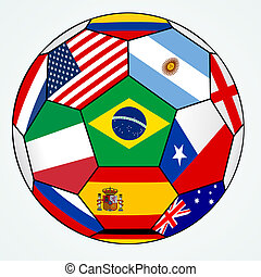 Vector illustration of the soccer with various flags - Brazil 2014