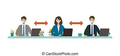 vector, social, ilustración, personas empresa, concept., ...