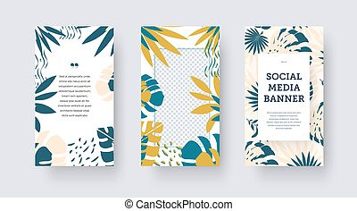 Vector social media banner, place for photo, header, tropical leaves, exotic composition in blue, nude, yellow.