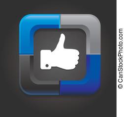 vector social media button with hand