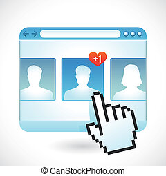 Vector social media concept - browser window and contact...