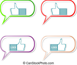 social media sharing icon set - Like hand in speech bubble