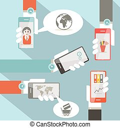 Vector Social Media Symbols with Cell Phones in Hands