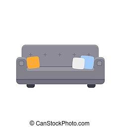 vector, sofá, icono, ilustración, almohadas