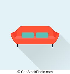 Vector sofa icon - Vector simple cute style flat sofa icons