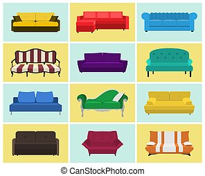Vector sofa icon set. Colored collection. Templates for...