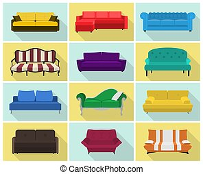 Vector sofa icon set. Colored collection in flat style with...