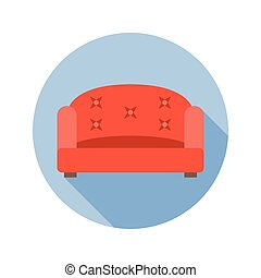 Vector sofa icon with long shadow