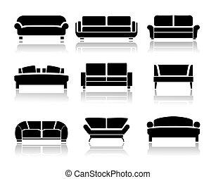 Vector sofa icons set. Interior Design. Vector
