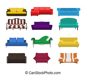 Vector sofa set icon. Colored collection isolated on white...