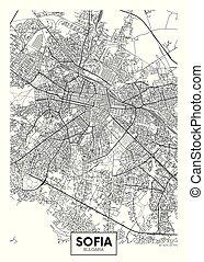 vector, sofia, diseño, ciudad, viaje, mapa, cartel