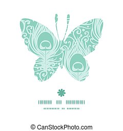 Vector soft peacock feathers butterfly silhouette pattern frame