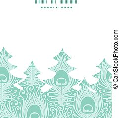 Vector soft peacock feathers Christmas tree silhouette...