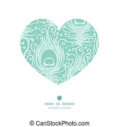 Vector soft peacock feathers heart silhouette pattern frame