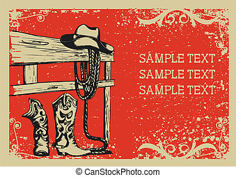 Cowboy's elements for life .Vector graphic image  with grunge background for text