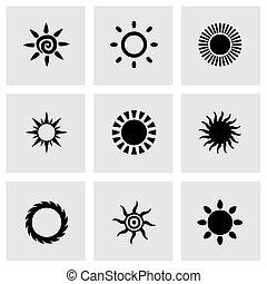 vector, sol, icono, conjunto