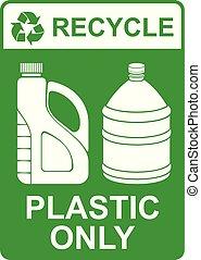 vector, solamente, reciclar, señal, plástico, ¿?
