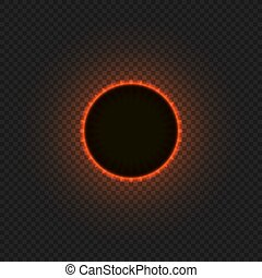Vector Solar Eclipse, Glowing Illustration on Transparent...