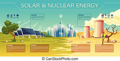 Vector solar against nuclear energy concept Business presentation infographic template. Renewable traditional technology illustration power plant solar battery reactor tower green dry tree modern city