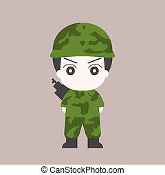 Vector soldier cartoon, flat design