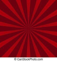 vector., soleil, résumé, arrière-plan rouge, rays.