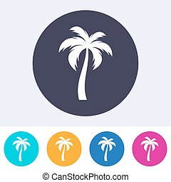 vector, solo, palmera, icono