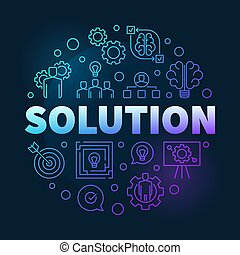 Vector Solution round colored outline illustration