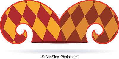 vector, sombrero, bufón, ilustración