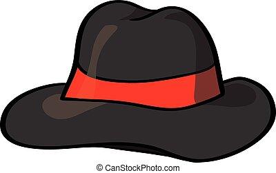 vector, sombrero de sombrero de fieltro, aislado, blanco